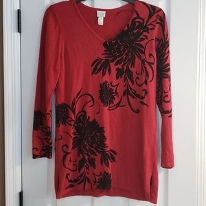 Chico's sz 1 red sweater with black floral print